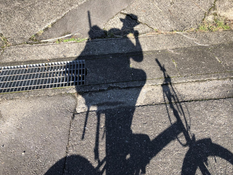 帰りは自転車で
